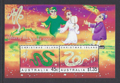 2001 Christmas Island Stamps - Lunar New Year-Year of Snake Mini Sheet MUH