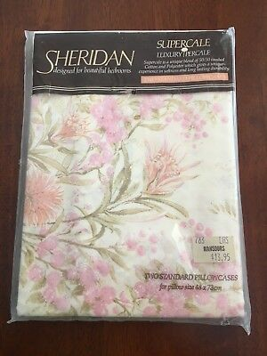 NEW - VINTAGE RETRO sheridan pillow cases -cotton - collectable -mansours