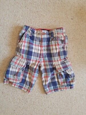 Mini Boden, boys cargo shorts, aged 5 years, blue and red check