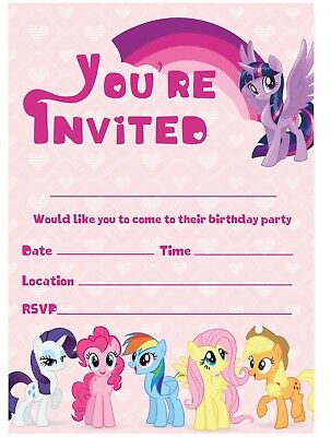 MY LITTLE PONY Birthday Party Invitations Invites Children Girls Pink Pony Heart