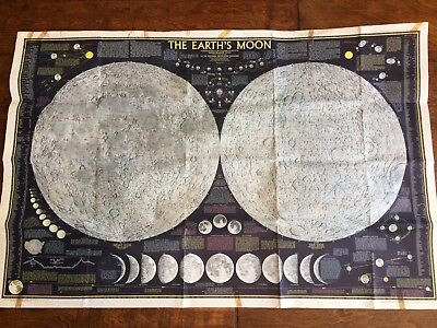 """Vintage 1969 Map The Earth's Moon  from National Geographic 42"""" x 27"""""""