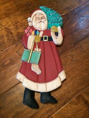 """Vintage wooden 17""""x7""""x1""""  Father Christmas St. Nick Santa Wood flat wall mantle"""