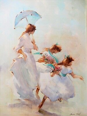 """Bette Hays, Original Oil Painting,  """" Spring Outings"""" signed & framed"""