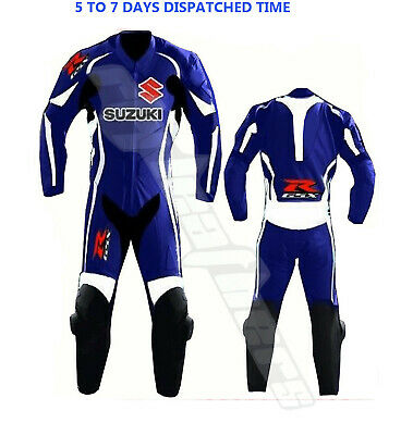 Suzuki Blue Motorbike leather Suit Motorcycle leather suit Riding suit Racing