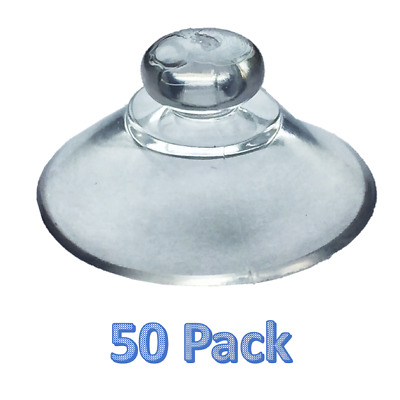 50 x 20mm Round Button Suction Cups-Window Suckers Clear PVC Plastic/Rubber Stud