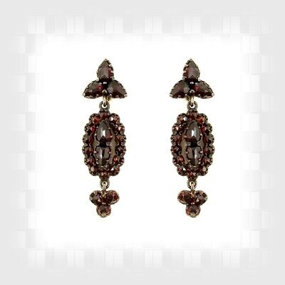 Vintage garnet earrings w/14ct gold studs Victorian style // гранат