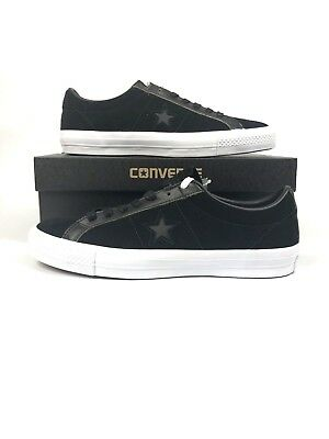 432f9c6c3305 Converse One Star Pro Ruboff Leather Low Top Black Men Classic Shoes 155524C