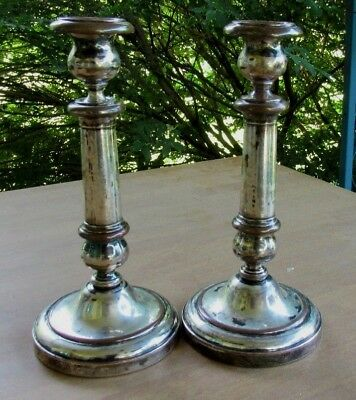 "Pair Of French Antique 10 1/4""  Silverplate Candlesticks 19th C H K Mark"