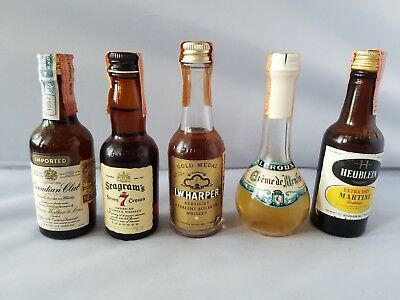 Vintage Mini Bar Liquor Bottles State of Maryland Excise Tax 5 Assorted Gift