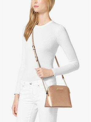 17e7af8f3300 Michael Kors Saffiano Leather Cindy Large Dome Crossbody Bag - Rose Gold
