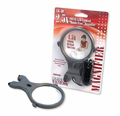 Carson MagniLook LED Lighted Compact Hands-free 2.5x Magnifier with 6x Spot Lens