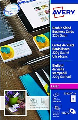 Avery C32016-10 Business Cards Smooth-Edged Satin-Look 220 gm for Colour and M