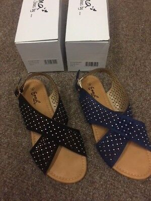 ladies Artimis  black or blue punched out , criss cross flat sandals. 4.5.6.7,