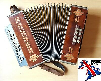 Rare 1930's Hohner Club Model II Diatonic Accordion Vintage German Antique Loud!