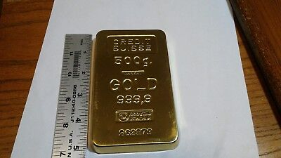 "Vintage Solid Brass ""Credit Suisse""  Gold Bar Paperweight"