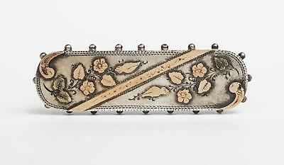 Victorian AESTHETIC MOVEMENT STERLING SILVER & GOLD BROOCH Chester 1895