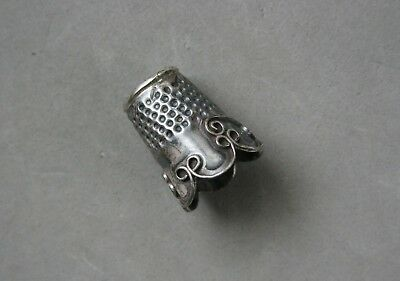 """Mexico Sterling Silver Thimble Vintage 3.45 Grams 1"""" x 3/4"""" Handcrafted Unique"""