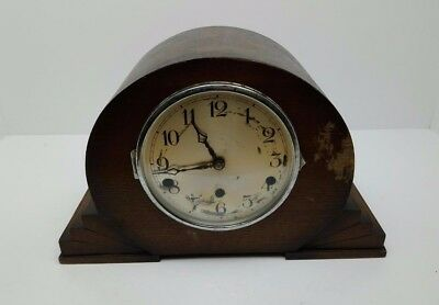 Vintage Art Deco Wooden Mantel Clock Decorative Ornament