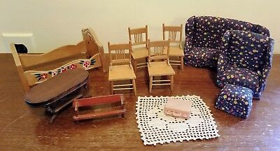 Dollhouse Vintage Lot 12 Victorian Set Wood Living Room Dining Chair Bed Table