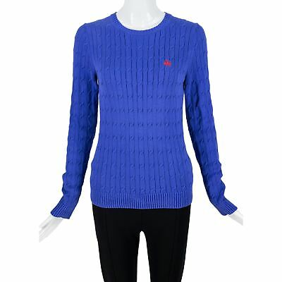 Brook Brothers 346 Blue Cotton Cable Knit Crew Neck LS Pull Over Sweater SZ  XS d73fe42dd