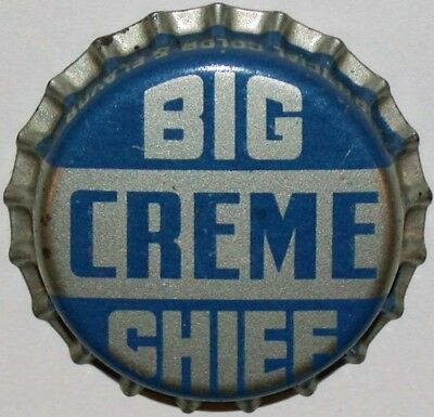 Vintage soda pop bottle cap BIG CHIEF CREME Coca Cola Payson Utah cork unused