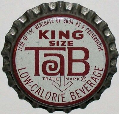 Vintage soda pop bottle cap TAB KING SIZE Coca Cola cork unused new old stock
