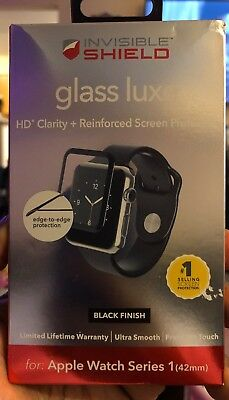 New ZAGG Invisible Shield Glass Luxe Apple Watch Series 1 - Black 42mm OPEN BOX