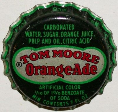 Vintage soda pop bottle cap TOM MOORE ORANGE ADE Coca Cola cork new old stock