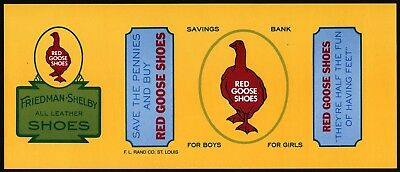 Vintage label RED GOOSE SHOES Savings Bank goose pic F L Rand St Louis n-mint+