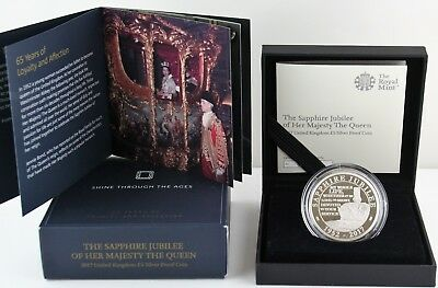 2017 Royal Mint Queen's Sapphire Jubilee Silver Proof Five Pound £5 coin COA Box