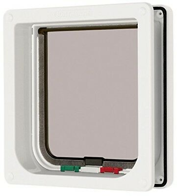 """4 Way Locking Cat Flap with Door Liner to 50mm (2""""), White (235W) Cat Small Dog"""