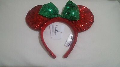 NEW NWT Disney Minnie Mouse Ear Red Green Sequin Headband Bow Christmas Holiday