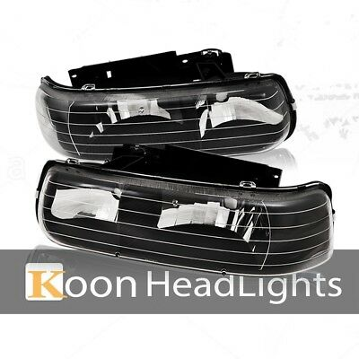 Fit 99-02 Chevy Silverado Pair Headlights Black Housing Clear Reflector Lamps