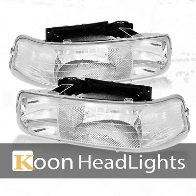 Fit 99-02 Chevy Silverado Crystal Headlights Chrome Clear Lens/Reflector Lamps