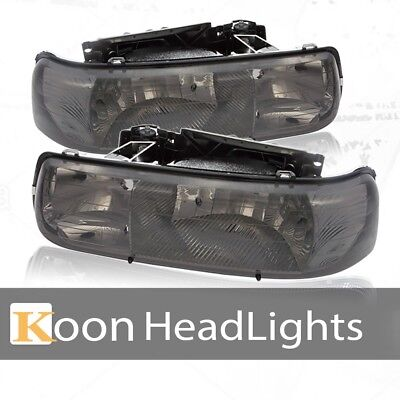 Fit 99-02 Chevy Silverado Headlights Chrome Housing Smoke Clear Reflector Lamps