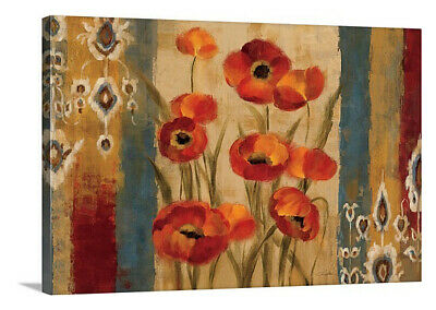 Ikat Floral Tapestry Stretched Canvas