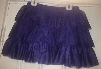 MINI BODEN Girls Lined Tiered Mesh Tulle Blue Skirt Size 9-10y