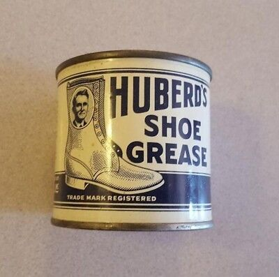 Vintage Huberd's Shoe Grease can 7 oz on side of can - McMinnville OR