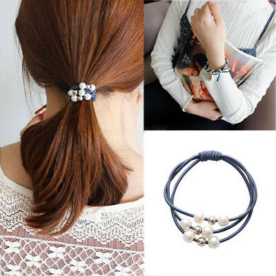 5pcs Rope Elastic Hairband Ponytail Holder Hair Accessories Pearl Hair Band