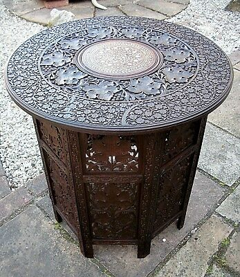 Superb Large Antique Octagonal Inlaid Folding  Anglo/ Indian   Side Table