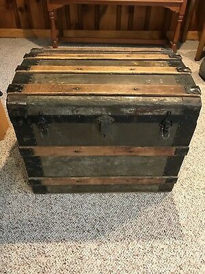 Vintage Antique Steamer Trunk with Dome Top
