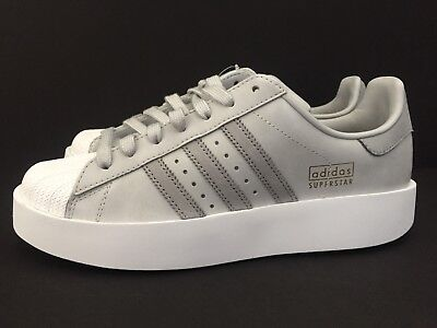 8ed27906fe73 Adidas Women s Superstar Bold Platform Shoes Grey White Sneakers Size 7.5  CG3694