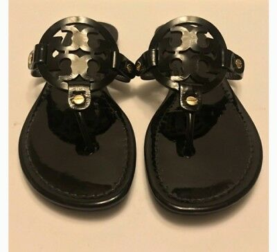 8fcecd269fa5 Tory Burch Miller Patent Leather Black Thong Sandals Flip Flop Women s Size  ...