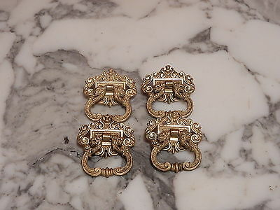 Antique Bronze Brass Furniture Drawer Pull Handles Set Four Griffin