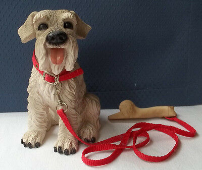 "Schnauzer - Gray and White with Collar and Leash with Bone - Lifelike - 8"" Tall"