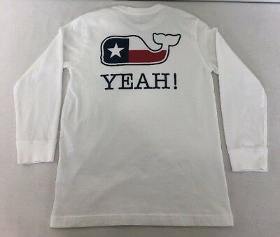 [M13] Vineyard Vines Shirt Texas Yeah Long Sleeve Whale Flag Boy's S (8-10) Euc