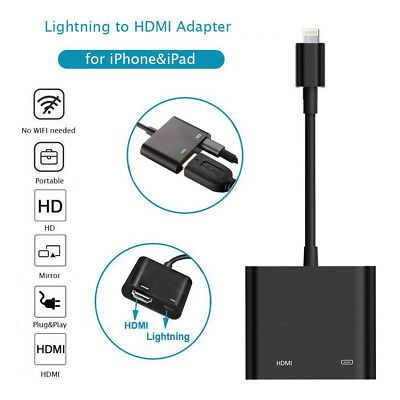 Lightning To HDMI Digital AV TV Cable Adapter For Apple iPad iPhone X 8 7 6 Plus