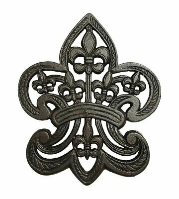Cast Iron Classic Fleur De Lis Trivet - Counter Top Or Wall Hanging, Black