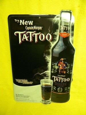 2005 Captain Morgan Tattoo Rum Pirate Lightning Keg Sword Tin Sign Puerto Rico