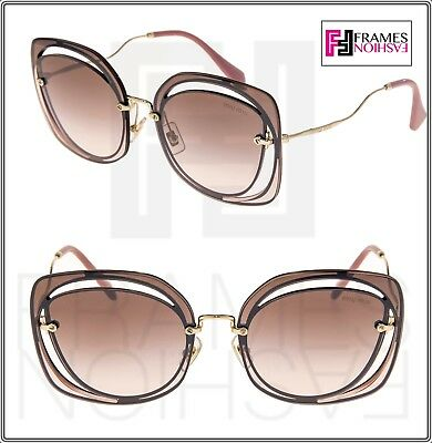ec27cc16eb0b MIU MIU SCENIQUE Square 54S Gold Brown Mirrored Lilac Oversized Sunglasses  MU54S